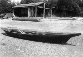 A fishing canoe, made by Jack Adams, Suquamish people; Box 6, File 12.