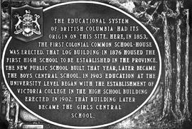 Plaque regarding Victoria's early schools.
