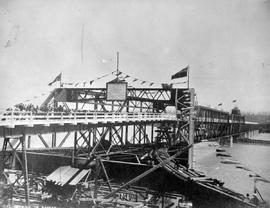 """Official opening of bridge""; construction of the Fraser River Bridge in New Westminster."