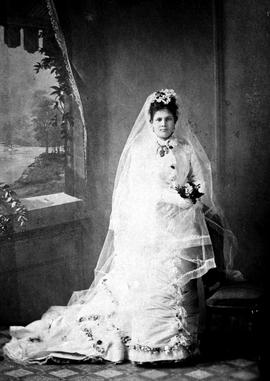Martha Douglas, daughter of Sir James and Lady Douglas, on her wedding day; married to Dennis Reg...