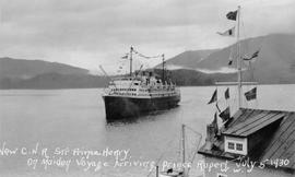 """New C.N.R. Str. Prince Henry on Maiden Voyage Arriving in Prince Rupert, July 5, 1930."""