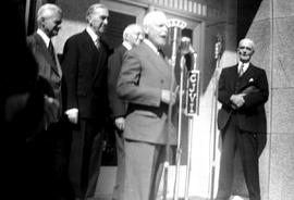 Prime Minister Louis St. Laurent and others at the opening ceremony of the Federal Building, sout...
