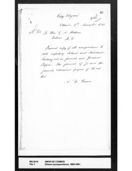 Amor De Cosmos to George Anthony Walkem : requesting all correspondence re Island and Mainland ra...
