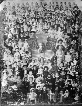 """Gems of British Columbia, 1883""; composite photo made from the children's portraits taken the previous year; also included are the Gems from 1881 and 1882."