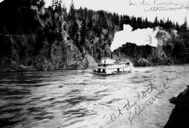 """At the rock, Cottonwood Canyon""; the sternwheeler Charlotte navigating Cottonwood Cany..."