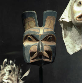 First Nations masks on display at the BC Provincial Museum, Victoria.
