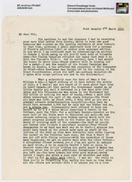 Correspondence from Archibald McDonald (transcripts and photostats)