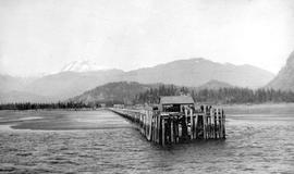 Pier at Squamish, Mount Garibaldi, background to the left.