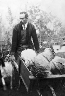 Charles Warburton Young, his dog, and his cabbages.