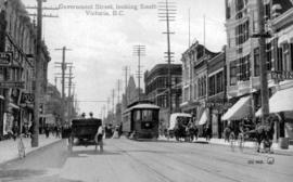 """Government Street Looking South""; Levy's Restaurant and the Hotel New England on ..."
