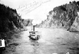 """Where line is picked up, Cottonwood Canyon""; the sternwheeler Charlotte navigating Cot..."