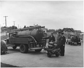 Self-contained fire-fighting unit constructed by Municipality of Oak Bay, showing Bickle 150 gall...