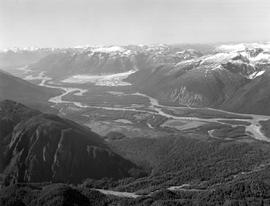 Stikine River Winding Past The Great Glacier