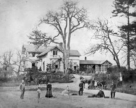Trutch residence 'Fairfield', Victoria; group includes Joseph W. Trutch, his wife, his mother, John Trutch, Mrs. Peter O'Reilly, nee Caroline Agnes Trutch and two children.