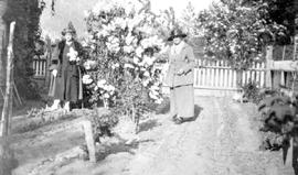 On the right, Mrs. Mickle, who came to the Nicola Valley in 1870; here 98 years of age; and on th...
