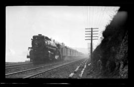 4-6-2, No.2706, Pacific. 3/4 Left. Semi-Closeup. General Detail Fair. On Passenger Running Along ...