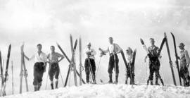 Skiers on Mount Seymour; identified by first name only in album in box 7, album D.
