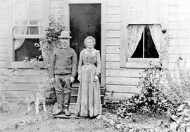 Mr. and Mrs. James Veitch and their dog, Tiny; Sooke, BC.