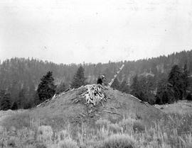 A First Nations home built into the earth with a single log carved as ladder.