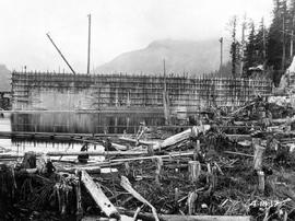 Ocean Falls pulp and paper mill; upstream view of the dam construction