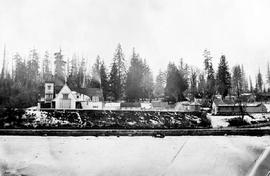 An early view of New Westminster; Royal Engineers' camp on the river.