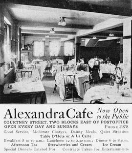 """Alexandra Cafe, Courtney Street, two blocks east of the post office...""; Victoria."