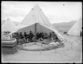 Soldiers inside tent