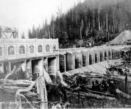 """Downstream face of Blind Slough Dam at Stave Lake, Western Power Company of Canada""."