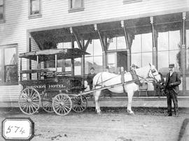 Kamloops Museum photo; Dominion Hotel and its bus, Main Street, Kamloops
