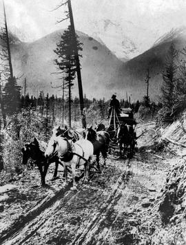 A stagecoach in a mountain pass.