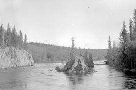 Standing rock canyon, Nechako River.