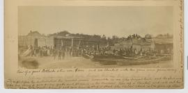 [In pencil]:  Indian distribution feast by the Songish [Songhees] Indians Victoria Harbour V.I. [Vancouver Island] No. 11.   [ In ink]:  View of a great Potlach [potlatch] when over $3000 and 200 blankets with ten guns were given away.  The night before the distribution the invited guests assemble in one of the largest huts, and the Indians who are going to give away goods and presents on the morrow, tear up a blanket and call out the name of one of the visitors present, and give him a strip or shred of the blanket which is to be given up when he receives a present, in exchange for the shred of blanket.  I was present at a great Potlach when living in Victoria V.I.  Fredk. Dally.