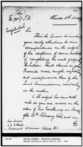 (Copy) Mills to A. N. Richards, Lieutenant Governor, 20 Dec 1877, re method to complete work of t...