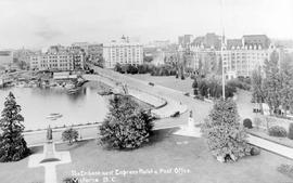 """The Embankment, Empress Hotel and Post Office, Victoria BC""; postcard."