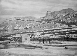 Rear view of Jasper House, Rocky Mountains.