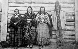 """St. Paul and family; Kamloops, most celebrated Indian Chief in British North America""; Jean Baptist St. Paul ""Lolo"", his wife and two daughters; taken at Thompson River Post, Fort Kamloops"