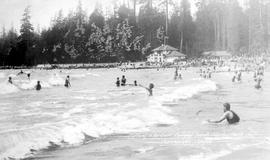 """Bathing in the surf, Second Beach, Stanley Park, Vancouver, BC""."