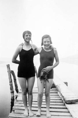 Two girls, Lavinia and Marjorie on the Little Wharf; Fintry on Okanagan Lake