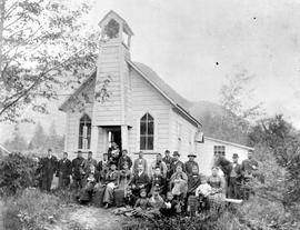 Bella Coola Indians In Front Of Church