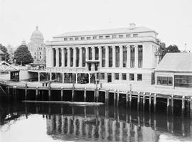 The CP terminal, Victoria; seen from the Inner Harbour, Legislative Buildings in the background; ...