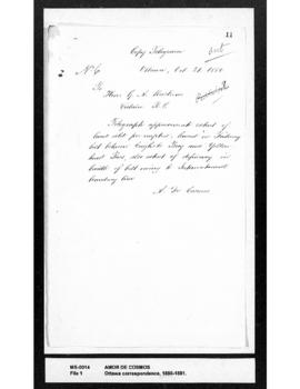 Amor De Cosmos to George Anthony Walkem : requesting summary of land pre-emptions leased in Railw...