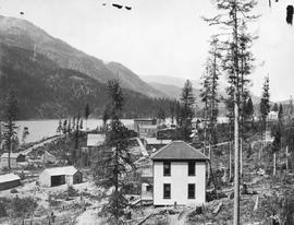 """Looking north up Lower Moyie Lake, BC, from Lake Shoree Mine Trestle."""