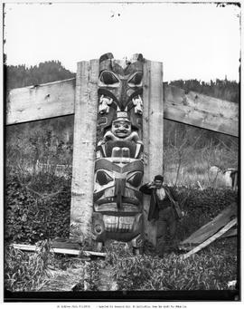 Totem pole in Skidegate; pole now in the Royal British Columbia Museum.