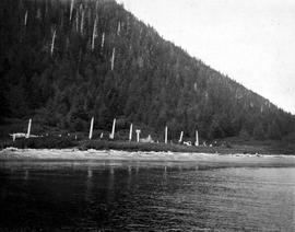 A First Nations settlement seen from the water.