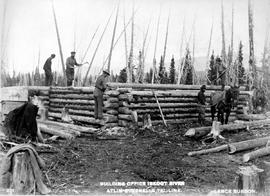 """Building office, Iskoot River; Atlin-Quesnelle tel. line."""