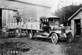 Chilliwack. First milk hauling truck, owned by A. Edmondson