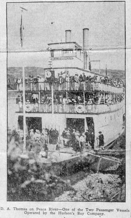 """D.A. Thomas on Peace River - One of the Two Passenger Vessels Operated by the Hudson's..."