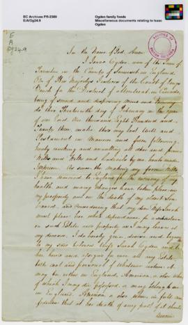 Miscellaneous documents relating to Isaac Ogden