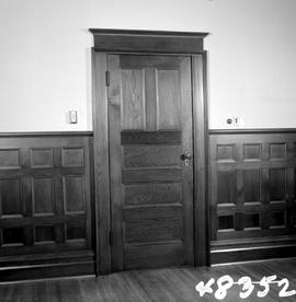 "Doorway and inset wooden panelling; George H. Aylard's residence ""Stonehaven"", 625 Elliot Street, Victoria; just prior to being demolished"