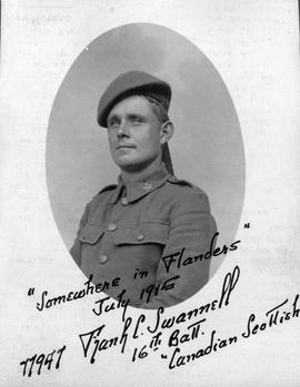 """Somewhere in Flanders, July 1915, 77947, Frank C. Swannell, 16th Batt., Canadian Scottish&q..."